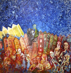brightly-coloured painting of a city scene populated by large figures